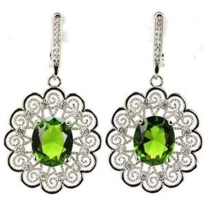 Green Peridot  and White Topaz ~ Silver Earrings